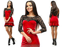 Шикарное нарядное красное бархатное платье со стразами и черными гипюровыми вставками. Арт-2645/39