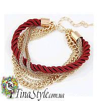 Браслет веревка цепочка многослойный красный цвет Шарм украшения для девушки Новинка шнур ХИТ!