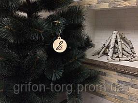 Сосна елка искусственная с белыми кончиками 1,9 м +игрушка ручной работы в подарок, фото 3