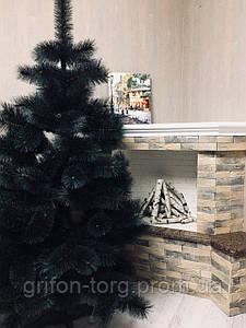 Сосна елка искусственная с белым напылением на кончиках 1,3 м +игрушка ручной работы в подарок