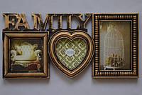 Рамка коллаж 103 Family 3 фото бронза