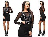 Черное короткое облегающее вечернее трикотажное платье с длинным рукавом и со стразами. Арт-2656/39