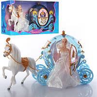Карета с лошадью и куклой 216В, 54см, свет, звук, лошадь ходит,