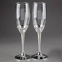 Свадебные бокалы на металлической ножке с сердцами, красивые и оригинальные бокалы на свадьбу