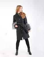 Пальто шерстяное с меховыми рукавами. СТ 0005_1 черный