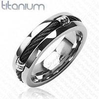 Мужское кольцо из титана Spikes R-TI-3087B с черным тросом по центру