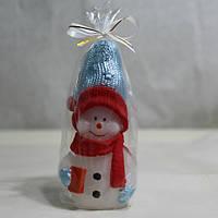 Снеговик с Подарком / Свеча Новогодняя 9x4 см