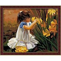 Картина по номерам Девочка с ирисами G014 (40*50 см)