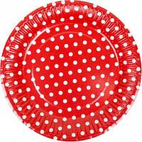 """Тарелки одноразовые бумажные, 18 см """"Горох, красная"""" / 10 шт"""