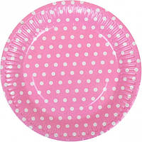 """Тарелки одноразовые бумажные, 18 см """"Горох, розовая"""" / 10 шт"""