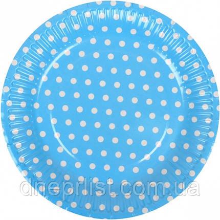 """Тарелки одноразовые бумажные, 18 см """"Горох, синие"""" / 10 шт, фото 2"""