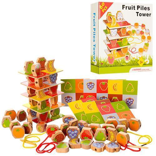 Деревянная игрушка Шнуровка A20 фрукты и ягоды