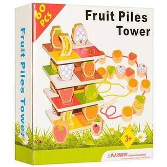 Деревянная игрушка Шнуровка A20 фрукты и ягоды, фото 2