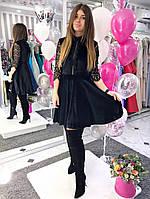 Бархатное платье с кружевом 1032.2 ДП
