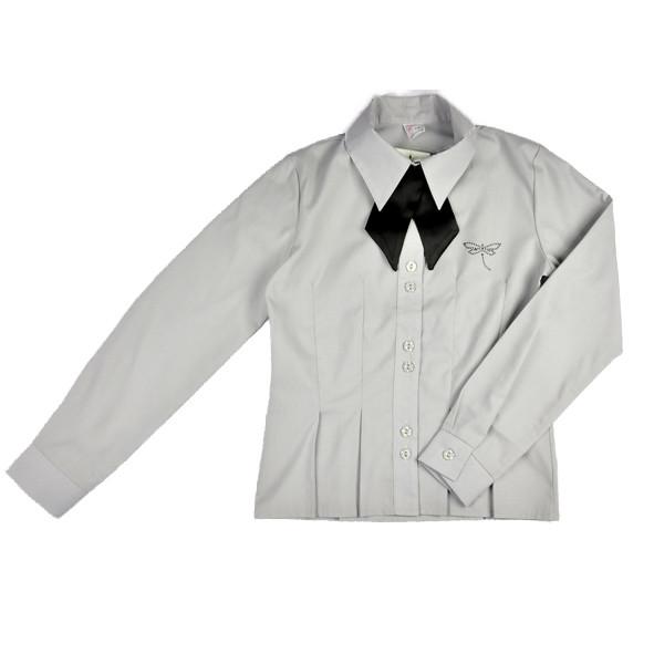 Школьная блуза серая с черным бантом BO-JA