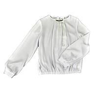 Школьная белая блуза с украшением на горловине для девочки, SLY