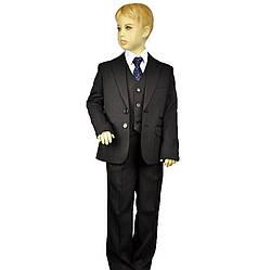 Школьный костюм-тройка черный Виктория, BOZER