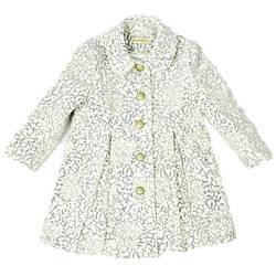 Детское нарядное пальто белого цвета с узором