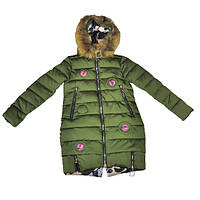 Куртка-пуховик зеленого цвета для девочки