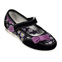 Кожаные туфли для девочки в ромашках Bistfor
