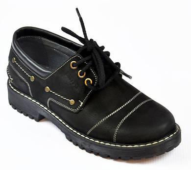 Туфли стильные черные кожаные для мальчика Bistfor