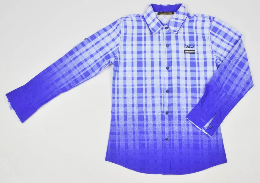 Синяя яркая рубашка с принтом BLUELAND