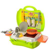 Детский игровой набор Кухня 14071A (кух. поверхность, мойка, электр. плитка, посудка, приправы, шумовка, вилки, яичница)