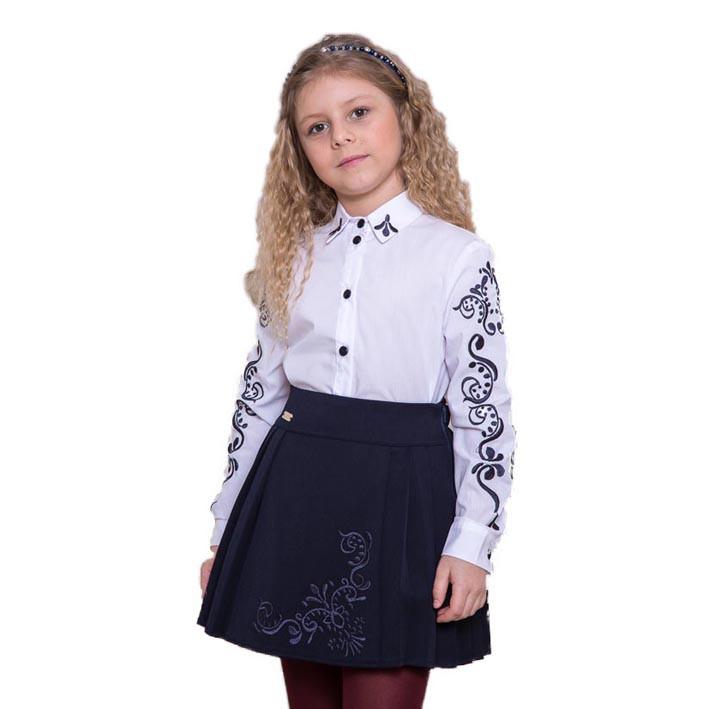 Школьная блузка Suzie Полина, цвет белый с черным