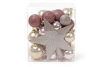 Набор елочных шаров (29шт) с верхушкой на елку Звезда (20см), микс цветов: шампань, розовый, медь; микс размер