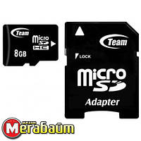 Карта памяти MicroSDHC 8GB Class 4 Team + SD-adapter (TUSDH8GCL403)