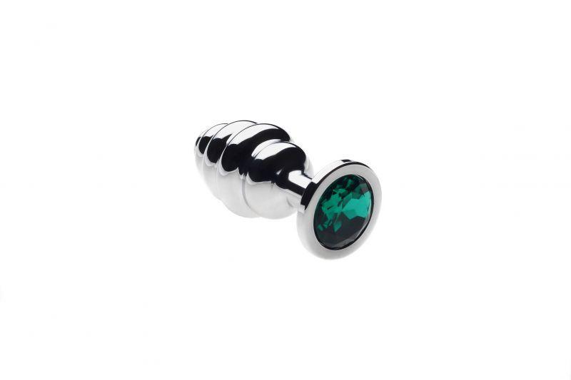 Анальная пробка ребристая, Silver Emerald, S