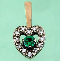 Золотий підвіскок з діамантом та смарагдом
