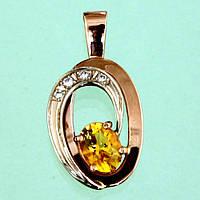 Золотий підвіскок з діамантом та цитрином