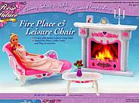 """Мебель """"Gloria"""" для кукол, в наборе: cофа, камин, столик, аксессуары."""