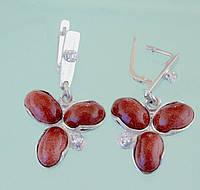 Срібні сережки з цирконом та поробними каменями