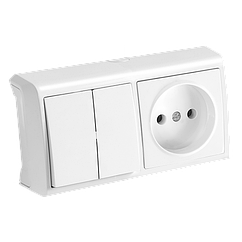 Комбинация розетки и выключателя 2-кл. белая (горизонтальная) ViKO Vera 90681089