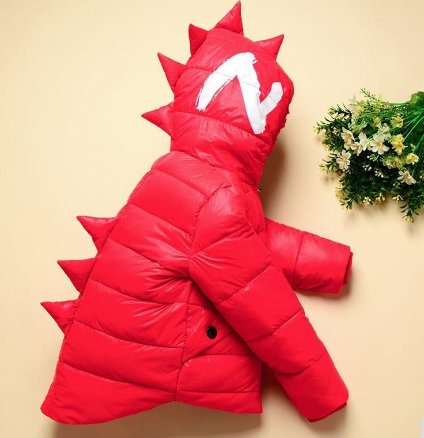 """Детская демисезонная куртка, тонкий пуховик """"Дракоша"""" красный"""