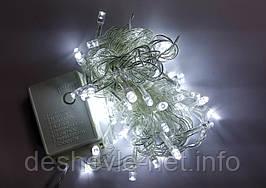 Светодиодная гирлянда 100LED 5м свет белый, прозрачный белый или черный провод
