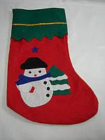 Новогодний носок(сапог) красный со снеговиком (34*23см)