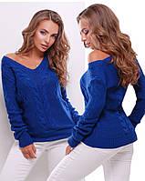 Свитер женский вязанный 130 (10 цв), женский свитер, вязаный свитер с вырезом, фото 1