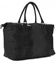 Женская большая сумка GENUINE LEATHER из натуральной кожи, черного цвета MADE IN ITALY