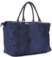 Женская большая сумка GENUINE LEATHER из натуральной кожи, синего цвета MADE IN ITALY