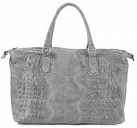 Женская большая сумка GENUINE LEATHER из натуральной кожи, серого цвета MADE IN ITALY