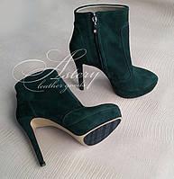 Женские ботильоны зеленые замшевые