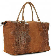 Женская большая сумка GENUINE LEATHER из натуральной кожи, коричневого цвета MADE IN ITALY