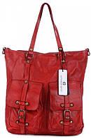 Женская большая сумка VITTORIA GOTTI из натуральной кожи, красного цвета MADE IN ITALY