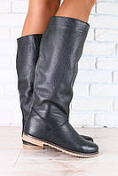 Сапоги женские черные кожаные без каблука на низком ходу