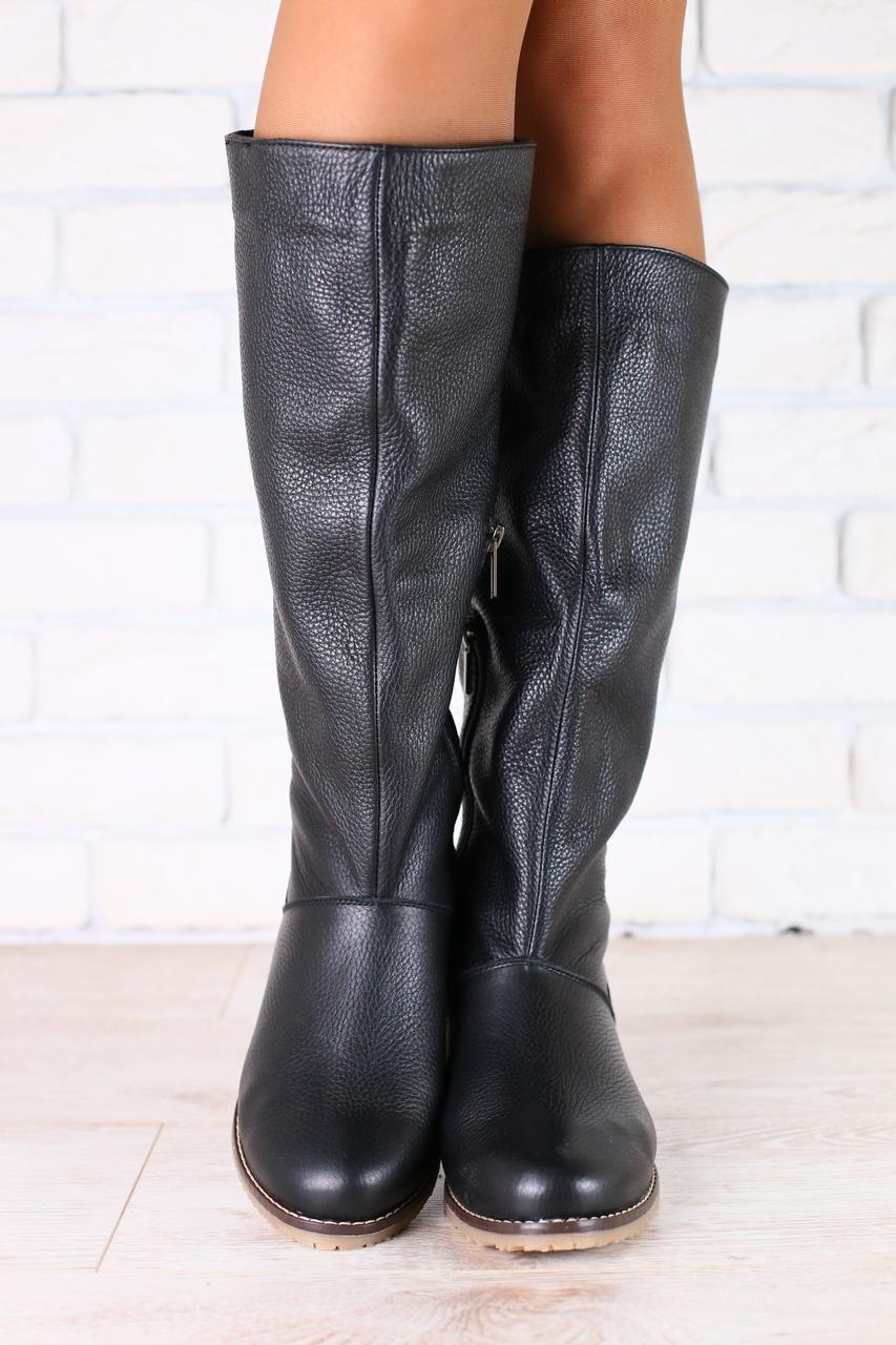 Сапоги женские черные кожаные без каблука на низком ходу  продажа ... f5a94567b9a