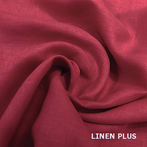 Коралловая льняная ткань 100% лен, цвет 1068