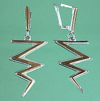 Срібні сережки без вставок з позолотою